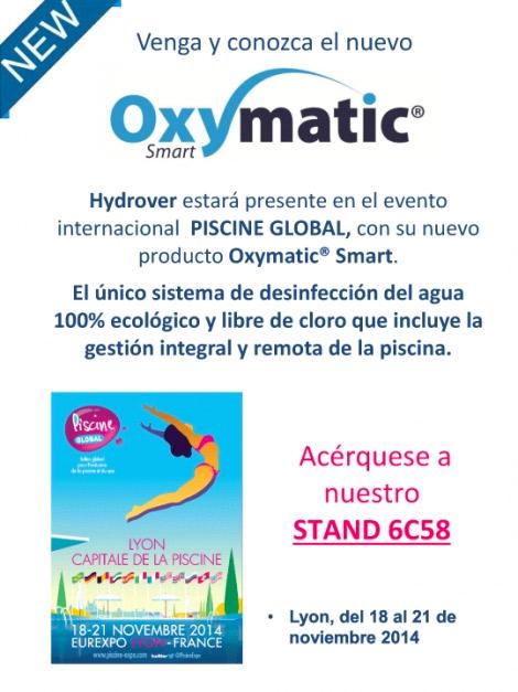 Hydrover estará presente en el evento internacional PISCINE GLOBAL, con su nuevo producto Oxymatic® Smart.